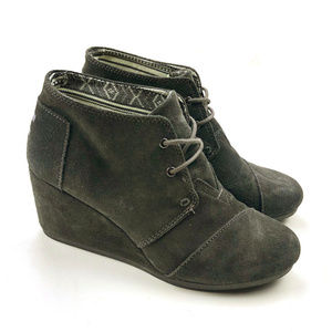 Toms Women Gray Suede Leather Desert Wedge Lace up